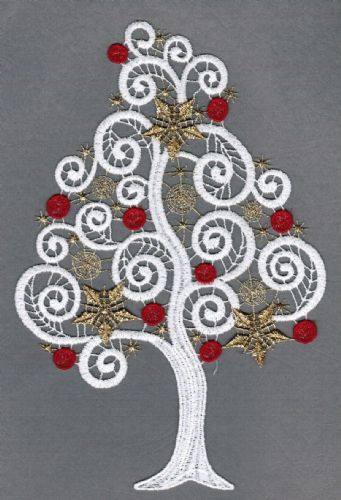 Embroidered Lace Decorated Festive Tree Christmas Window Picture